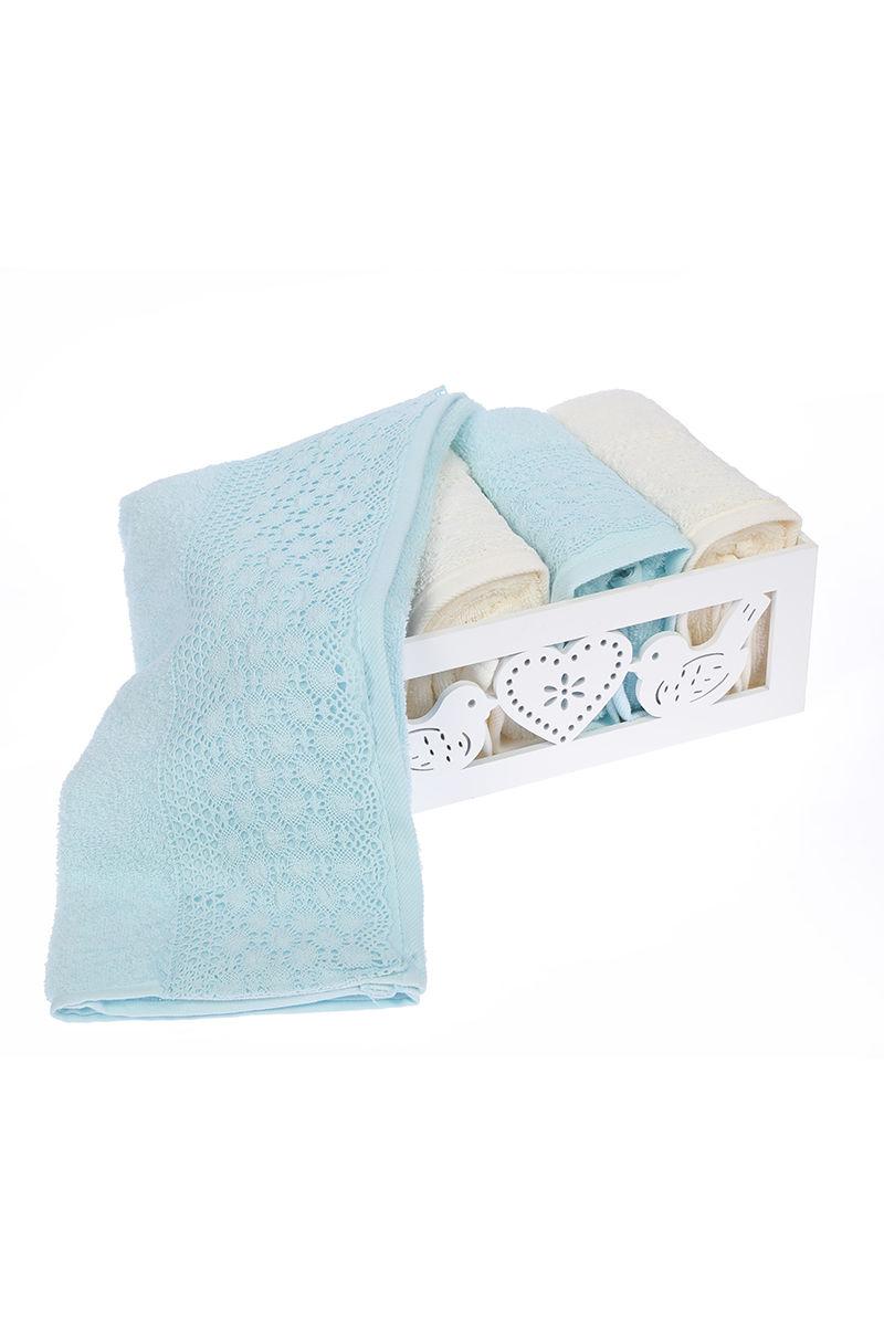 c1f33d28be0 Хавлии - Комплект памучни кърпи, 50x90 - 4 бр. крем - мента, в кутия