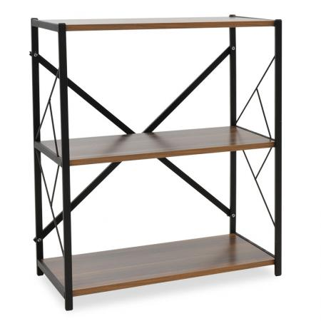 Ниска книжарница Octava Pakoworld Walnut-Black 66x30x85cm