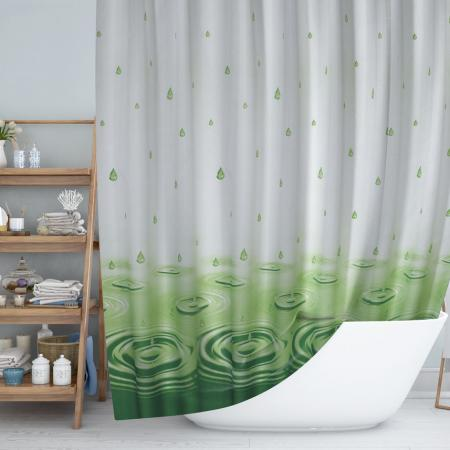 Shower curtain Drop green